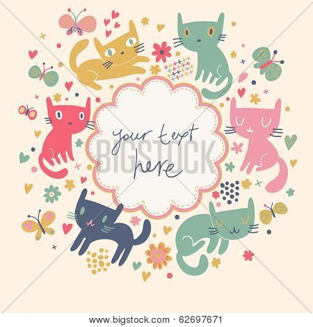 Gentle cartoon background with cute cats and butterflies. Bright birthday invitation card in vector.