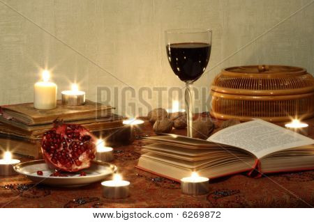 Still Life With Pomegranrte And Wine