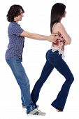stock photo of whip-hand  - Social dance West Coast Swing - JPG