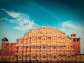picture of palace  - Vintage retro hipster style travel image of Famous Rajasthan landmark  - JPG