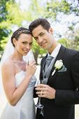 pic of flute  - Portrait of beautiful bride and groom holding champagne flutes in park - JPG