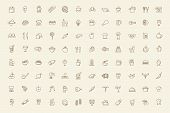 pic of chinese menu  - vector black food and meal icons set - JPG