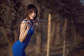 Beautiful Girl In Blue Evening Dress.