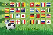 stock photo of nationalism  - National Team Flags for soccer 2014 on grass background and soccer ball  32 nations  vector illustration - JPG