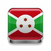 pic of burundi  - Metal square icon with flag colors of Burundi - JPG