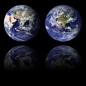 stock photo of eastern hemisphere  - High resolution 3D render of Planet Earth in the Eastern and Western hemispheres - JPG