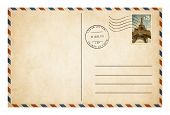 stock photo of old post office  - Old style postcard or envelope with postage stamp isolated - JPG