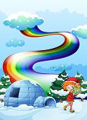 stock photo of igloo  - Illustration of an elf near the igloo with a rainbow in the sky - JPG