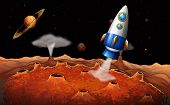 foto of outerspace  - Illustration of an outerspace with a rocket - JPG