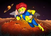 image of outerspace  - Illustration of an outerspace with a superhero - JPG