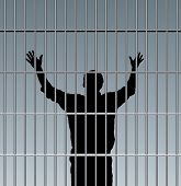 stock photo of lockups  - desperate prisoner in jail - JPG
