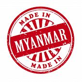 Made In Myanmar Grunge Rubber Stamp