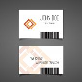 stock photo of barcode  - Business or Gift Card Design with Barcode Background - JPG