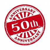 image of 50th  - illustration of grunge rubber stamp with the text 50th anniversary written inside - JPG