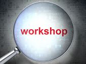 Education concept: Workshop with optical glass