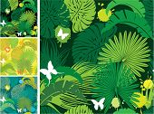 stock photo of jungle exotic  - Set of seamless patterns with palm trees leaves and butterflies - JPG
