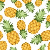 stock photo of tropical food  - Vector seamless background with pineapples on a white background - JPG