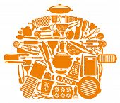 picture of saucepan  - Icons of kitchen ware and utensils in the form of a pan - JPG