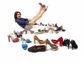 foto of platform shoes  - Studio shot of young woman and huge selection of women - JPG