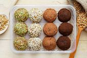 stock photo of cake-ball  - macrobiotic healthy food - JPG