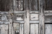 picture of hasp  - Old Asian door with padlock and hasp - JPG