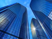 image of buildings  - Beautiful view of modern reflective office buildings - JPG