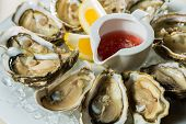 pic of oyster shell  - A platter of fresh organic raw oysters on ice at restaurant