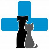 pic of cross-breeding  - veterinary care icon with cross dog and cat - JPG