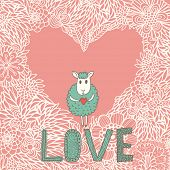 Cartoon romantic background. Funny sheep on heart made of flowers in vector