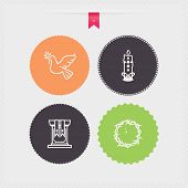 stock photo of pigeon  - Four concept icons: spring from left to right top to bottom - 
