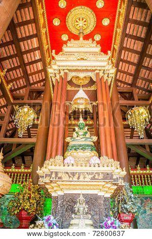 Green Jade Buddha Statue In Chiang Rai, Thailand