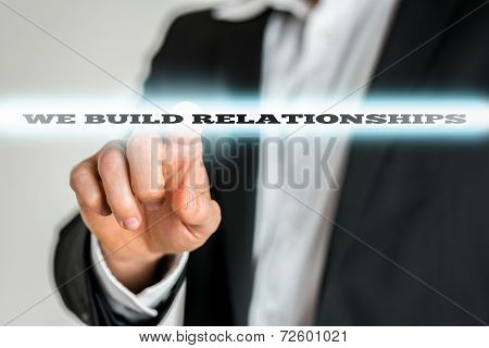 Man Touching Screen With Relationship Slogan