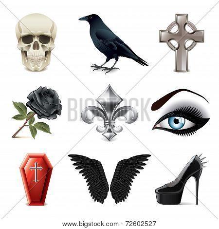 Gothic Attributes Icons Vector Set