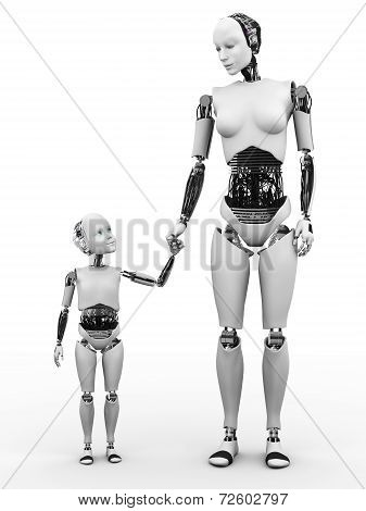 Robot Woman With Her Child