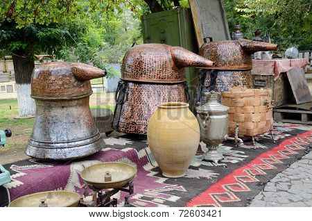 Russian Samovar And Old Copper Tanks For Making Traditional Strong Georgian Alcohol Drink -chacha