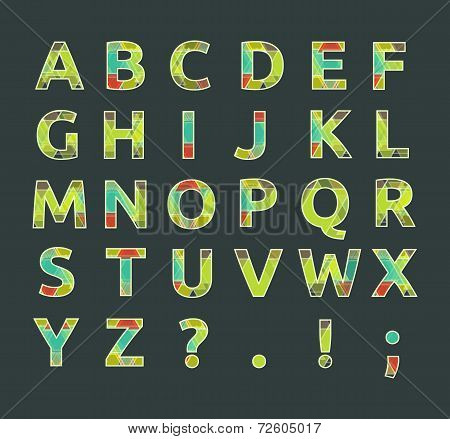 Creative Spectral Alphabet Of Geometric Paper Color