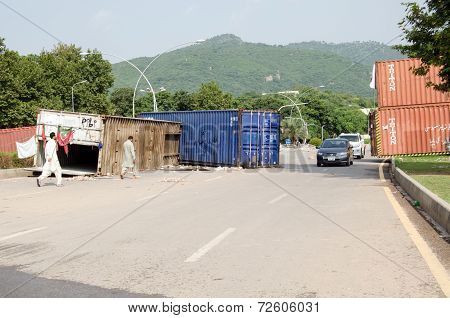 Protest Road Block, Islamabad