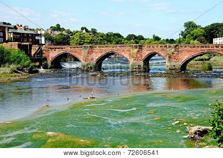 River and Old Dee Bridge, Chester.