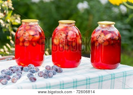 Plum compote home canning in the garden