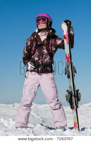 Girl Skier With Skis