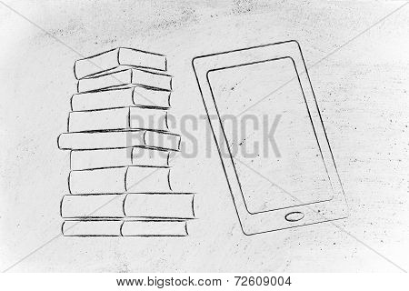 Pile Of Books And Tablet Device, Tradition Vs Innovation