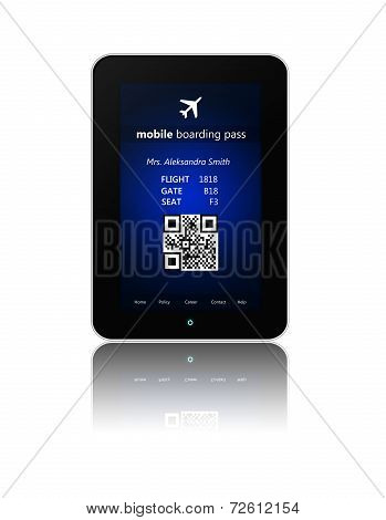 Tablet With Mobile Boarding Pass Isolated Over White
