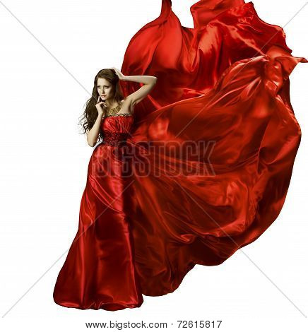 Woman In Red Elegant Silk Gown Waving Fabric