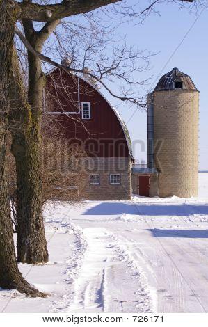 Barn In Winter Snow
