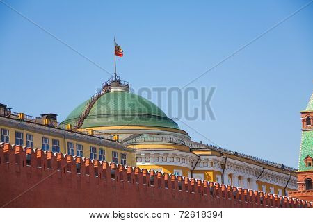 Senate palace with Russian flag in Moscow Kremlin