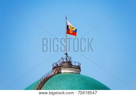 Russian flag on Senate Palace in Moscow Kremlin