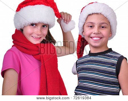 Bot And Girl With Christmas Santa Claus Red Hats