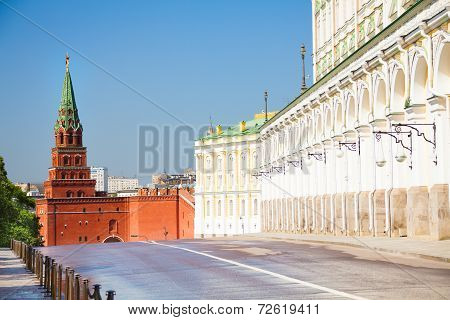 The close street view with Borovitskaya tower
