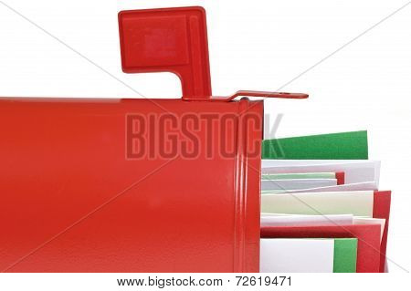 Big Red Mailbox Full Of Cards Or Letters