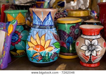 Colorful Hand Painted Mexican Vases